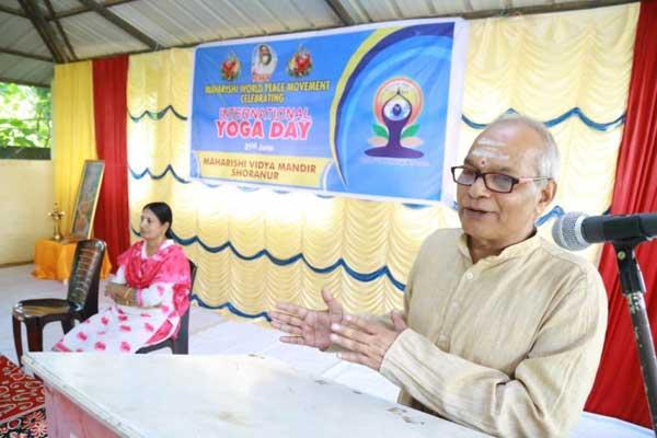 Maharishi Vidya Mandir, Shoranur celebrated International Yoga Day on June 21st in the school premises. Mrs. Vanaja Mohandas - Principal welcomed the gathering. Sri. Sankaran Namboodiri, Yoga Acharya, was the Chief Guest. He spoke about the importance of yoga in daily life.